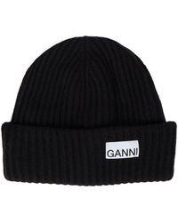 Ganni Wool-blend Beanie - Black