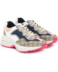 "Gucci 50mm Hohe Sneakers Aus Gg-baumwollcanvas ""rhyton"" - Blau"