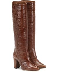 Paris Texas Croc-effect Leather Knee-high Boots - Brown