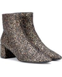 Saint Laurent Ankle Boots Loulou 50 mit Glitter - Mehrfarbig