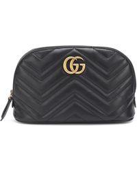 Gucci GG Marmont Medium Leather Cosmetics Case - Black