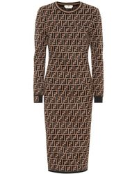 Fendi Ff Logo Jacquard Sweater Dress - Brown
