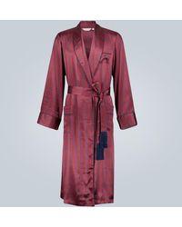 Derek Rose Bata Brindisi de seda estampada - Rojo