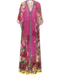 Camilla Printed Silk Maxi Dress - Purple