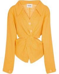 Nanushka Camicia Rasha in lino - Arancione