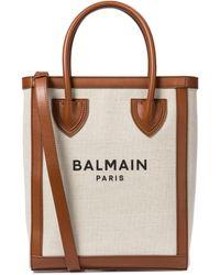 Balmain B-army 26 Canvas Shopper - Natural