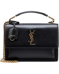 Saint Laurent Sunset Monogram Leather Crossbody - Black