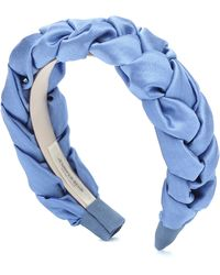 Jennifer Behr Lorelei Plaited Silk Headband - Blue