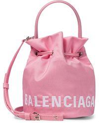Balenciaga Bucket-Bag Wheel XS aus Canvas - Pink