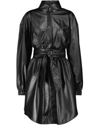 Alexandre Vauthier Leather Shirt Minidress - Black