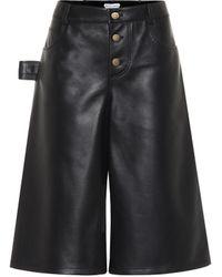 Bottega Veneta Jupe-culotte en cuir - Noir