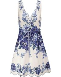 Zimmermann Vestido corto Aliane de lino floral - Azul
