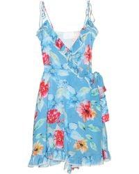 Athena Procopiou In Bloom Silk Minidress - Blue