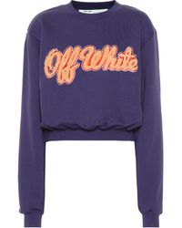 Off-White c/o Virgil Abloh Sweat-shirt raccourci en coton - Bleu