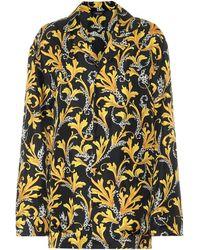 Versace Camisade pijama de seda estampada - Amarillo