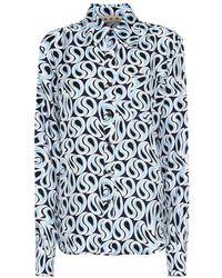 Marni Camicia a stampa in seta - Blu