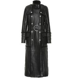 Balmain Manteau en cuir et shearling - Noir