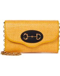 Gucci Schultertasche 1955 Small aus Raffiabast - Gelb