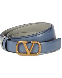 Valentino Garavani Cinturón reversible VLOGO de piel - Azul