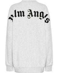 Palm Angels Logo Cotton Sweatshirt - Gray