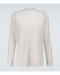 Dries Van Noten Mandarin Collar Cotton Poplin Shirt - Multicolour
