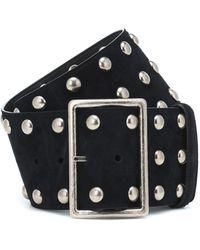 Saint Laurent Studded Suede Belt - Black