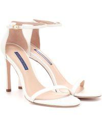 Stuart Weitzman Nudistsong Leather Sandals - White