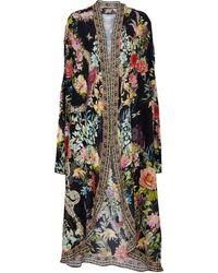 Camilla Embellished Floral Silk Robe - Black
