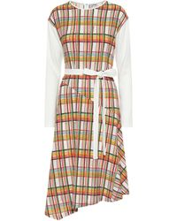 Loewe Checked Belted Dress - White