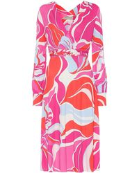 Emilio Pucci - Belted Printed Wrap-effect Stretch-jersey Dress - Lyst