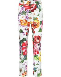 Dolce & Gabbana Floral Stretch-cotton Straight Trousers - Multicolour