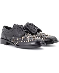 Dolce & Gabbana - Embellished Leather Derby Shoes - Lyst