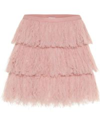 RED Valentino Tiered Tulle Miniskirt - Pink