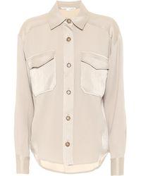 Veronica Beard Ainsley Satin-trimmed Shirt - Natural