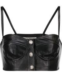 Alessandra Rich Embellished Leather Bralette - Black
