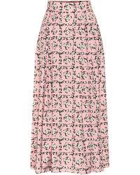 Emilia Wickstead Myrtle Pleated Crepe De Chine Midi Skirt - Pink