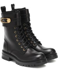 Versace Safety Pin Leather Ankle Boots - Black