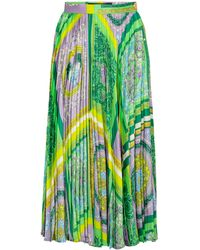 Versace Falda midi de satén Barocco Mosaic - Verde
