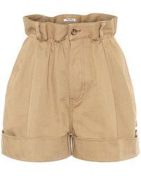 Miu Miu Shorts aus Baumwoll-Twill - Natur