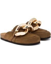 JW Anderson Embellished Suede Slippers - Brown