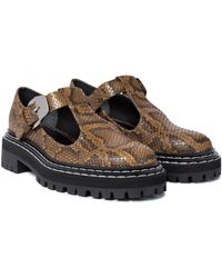 Proenza Schouler Snake-effect Leather Mary Janes - Natural