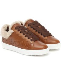 See By Chloé Essie Leather And Shearling Sneakers - Brown