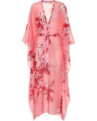 Etro Caftán de algodón y seda floral - Rosa