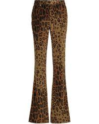 Etro Bedruckte Hose aus Samt - Braun