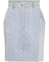 Marine Serre Printed Denim Miniskirt - Blue