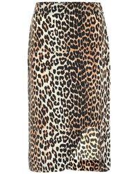 Ganni Gonna a stampa leopardo in misto seta - Multicolore