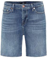 7 For All Mankind Boy High-rise Denim Shorts - Blue