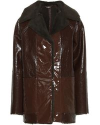 Kassl Editions Reversible Lacquered Textured-leather And Faux Shearling Coat - Brown