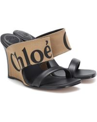 Chloé - Canvas And Leather Wedge Sandals - Lyst