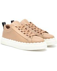 Chloé Sneakers Lauren aus Leder - Natur